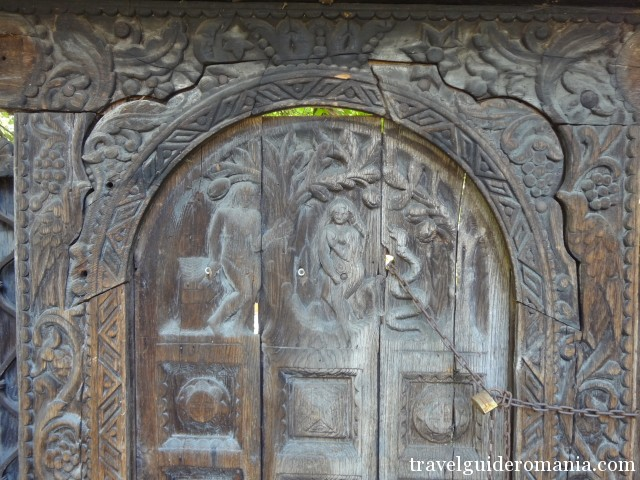 detail at a traditional wooden  gate