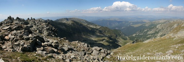 view from Parangul Mare peak 2519m - the fourth highest peak in Romania