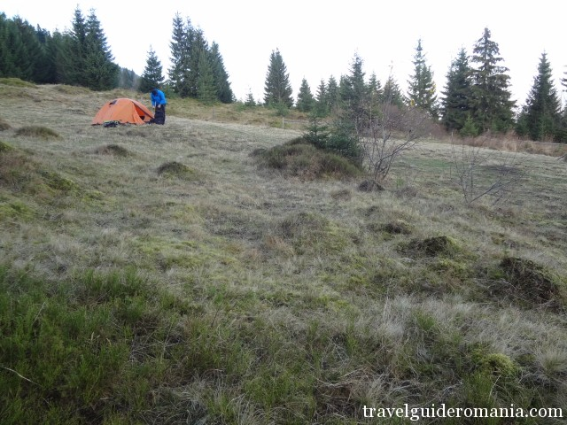 camping at the foothills of Rodnei mountains