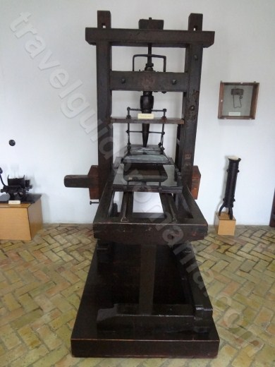 Manual pear-wood typography press at Neamt Museum Monastery