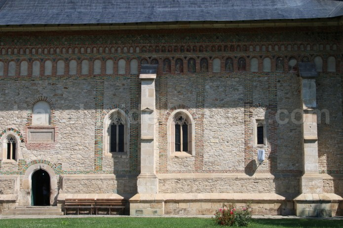 Richly embellished facades of the main church at Neamt Monastery