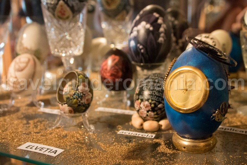 decorated eggs from Switzerland at Egg Museum - Bucovina