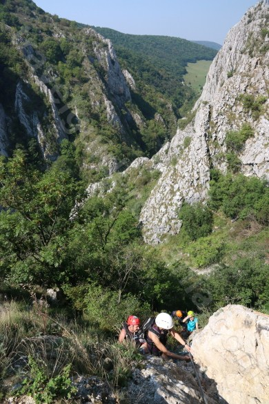 Climbing in via ferrata route - Turzii Gorge