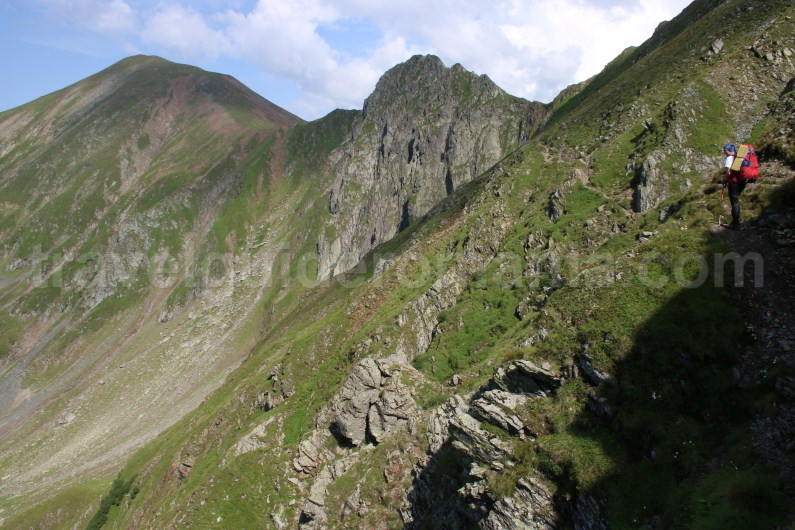 Crossing the Ridge of Fagaras Mountains - between Peak Garbova and Lake Avrig