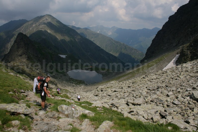 Descending to Caltun Lake - from Negoiu Peak - Fagaras Mountains