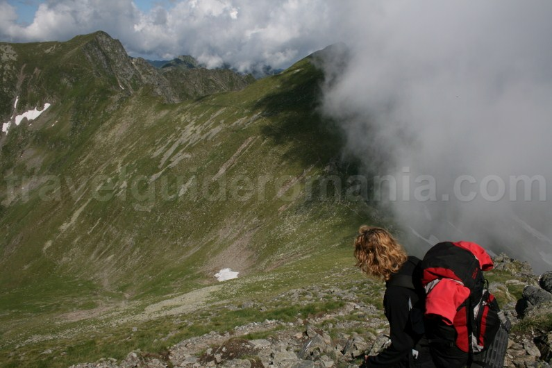 The ridge of Fagaras Mountains - stage from Lake Capra to Vistea refuge
