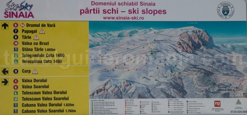 Sinaia ski resort map - travel to Prahovei Valley