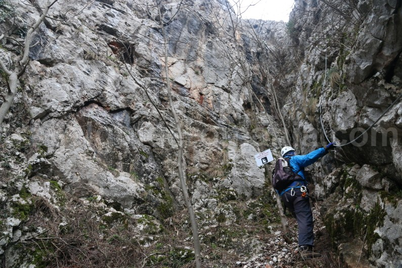 Entrance of via ferrata route from Vadu Crisului