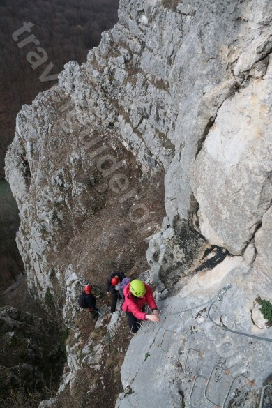 Climbing a via ferrata route