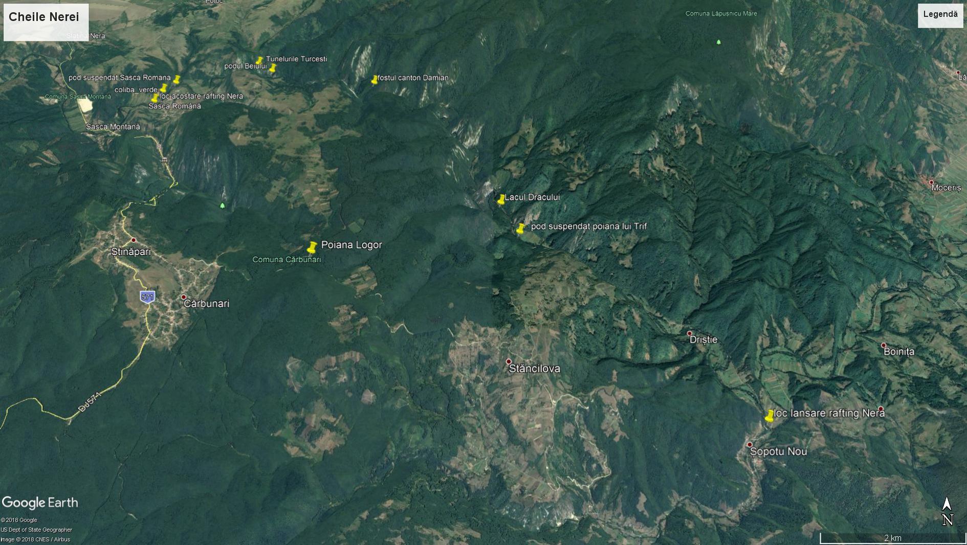 harta cheile nerei Nerei gorges map