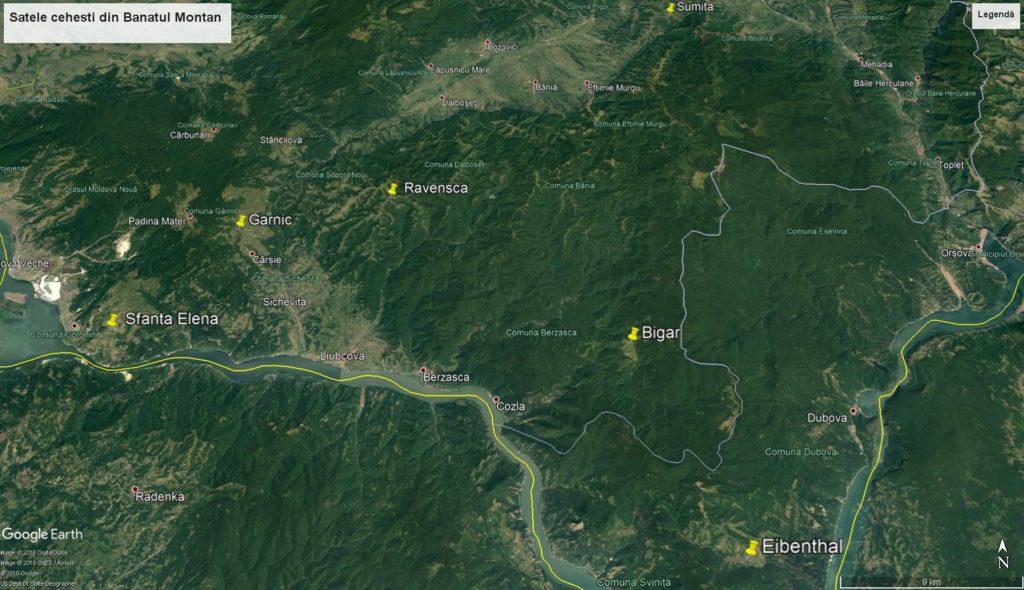 czech village Banat Mountains map