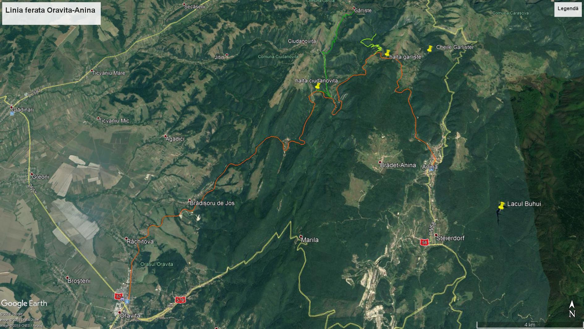map the oldest mountain railway in Romania oravita anina