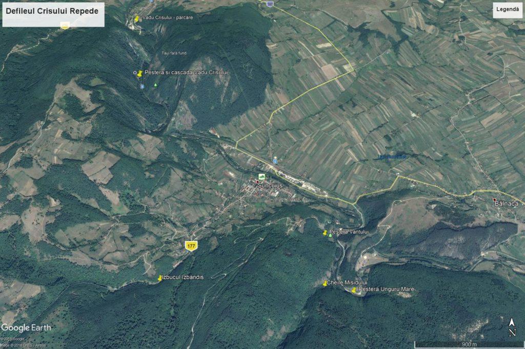 Crisul Repede Defile map Padurea Craiului